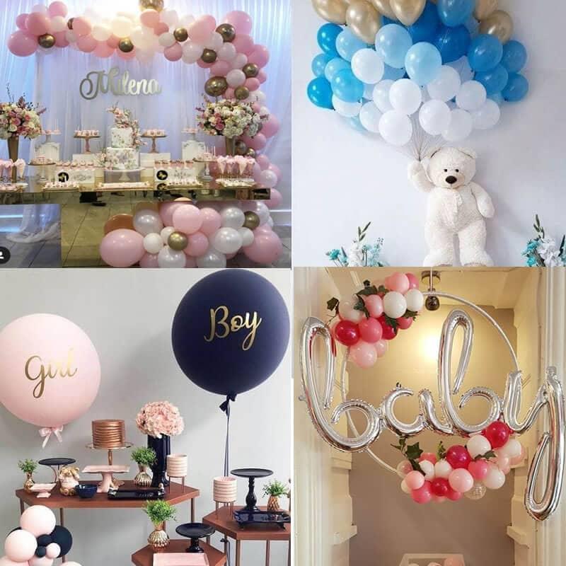 Différentes décorations composées de ballons pour une baby shower