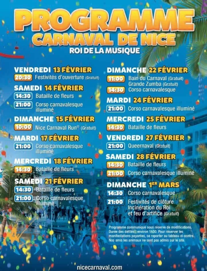 Programme du carnaval de Nice 2015