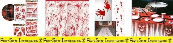 Décorations horreur rouge, à base de sang
