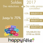 Soldes d'été 2017, les codes promos et réductions de happyfete
