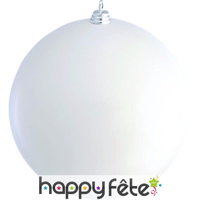Boule de no l blanc brilland de 20cm for Grosse boule de noel exterieur