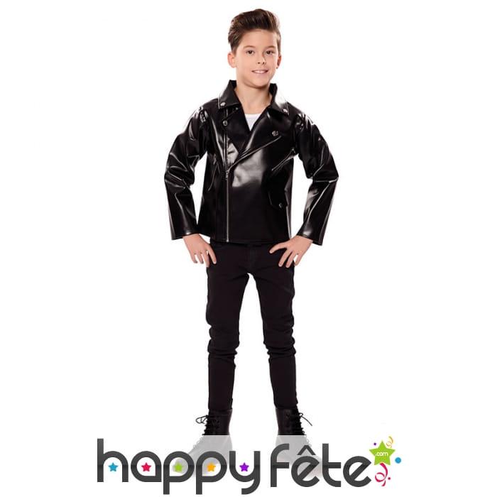 Blouson Rock Noir En Simili Cuir Pour Enfant