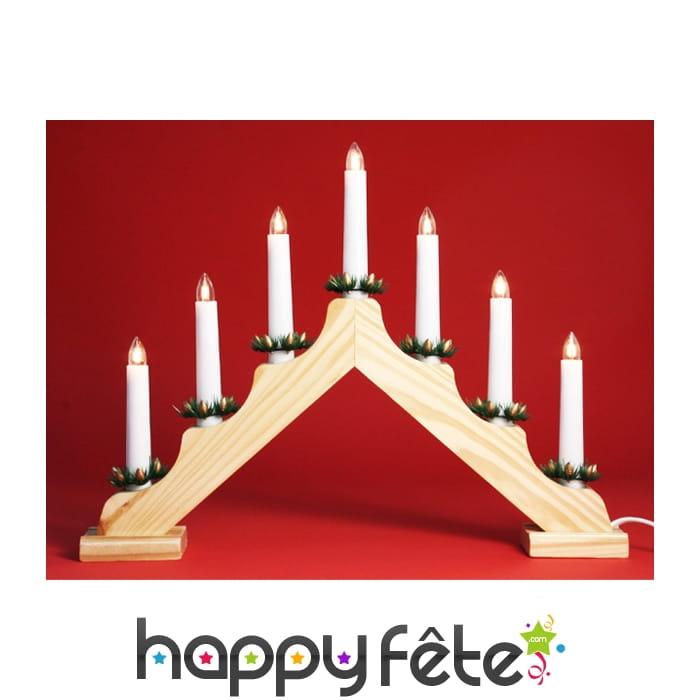 Chandelier 7 bougies lampes en bois - Porte bougie en bois ...