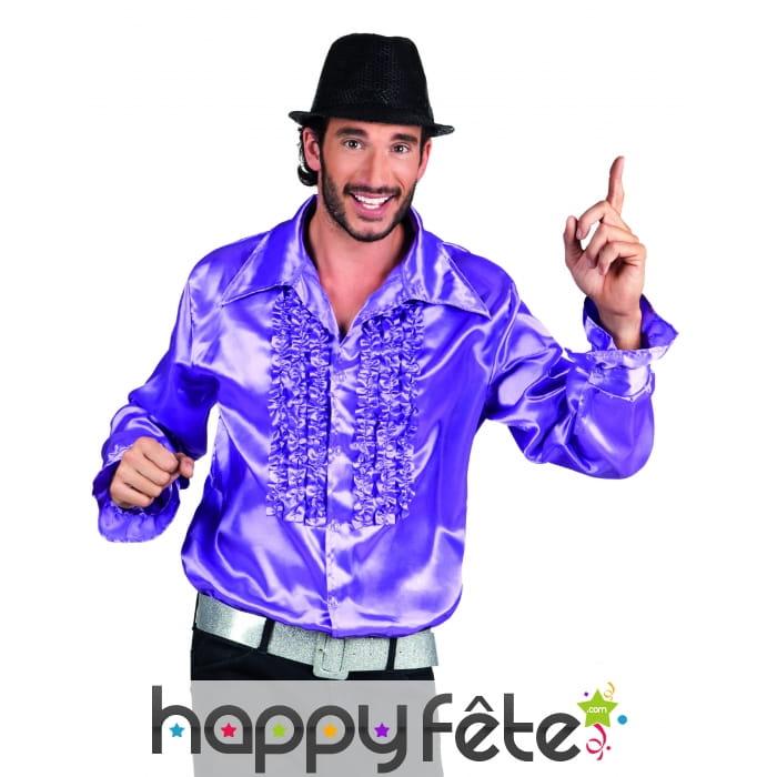 chemise violette disco pour homme. Black Bedroom Furniture Sets. Home Design Ideas