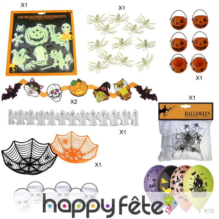 Kit de d coration halloween pour f te d 39 enfant - Deco halloween enfant ...
