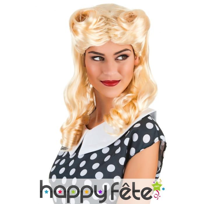 blonde avec boucles Smiffys Perruque vintage des ann/ées 40