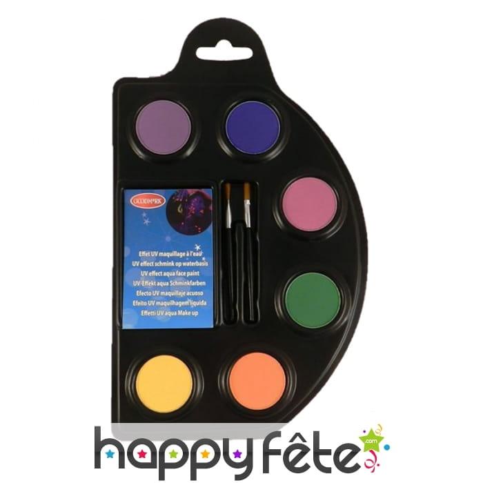 Palette de fards fluo effet uv avec accessoires - Palette maquillage avec pinceaux ...