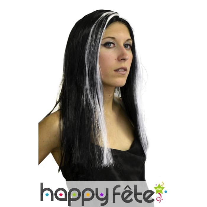 Souvent Perruque sorcière long cheveux noir mèche blanche AU65