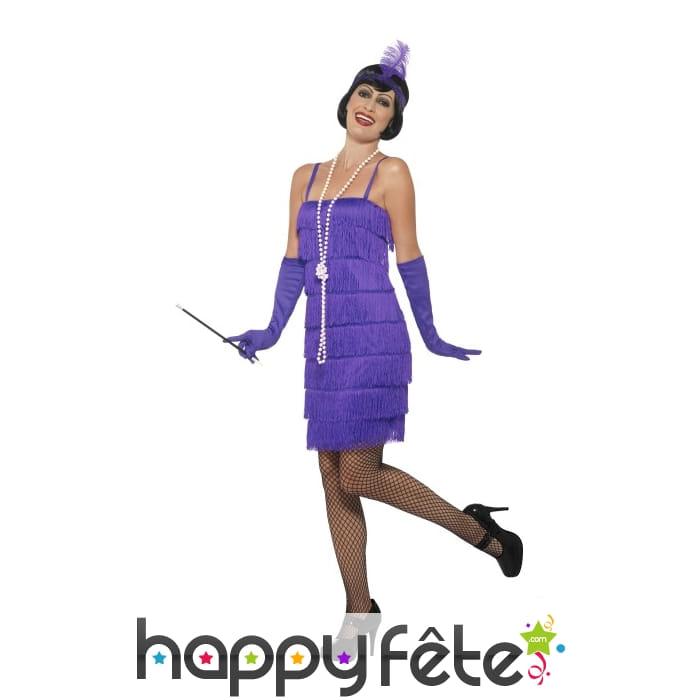 robe courte charleston franges violette. Black Bedroom Furniture Sets. Home Design Ideas