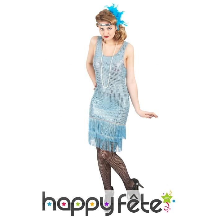 robe charleston mi longue bleue ciel avec sequins. Black Bedroom Furniture Sets. Home Design Ideas