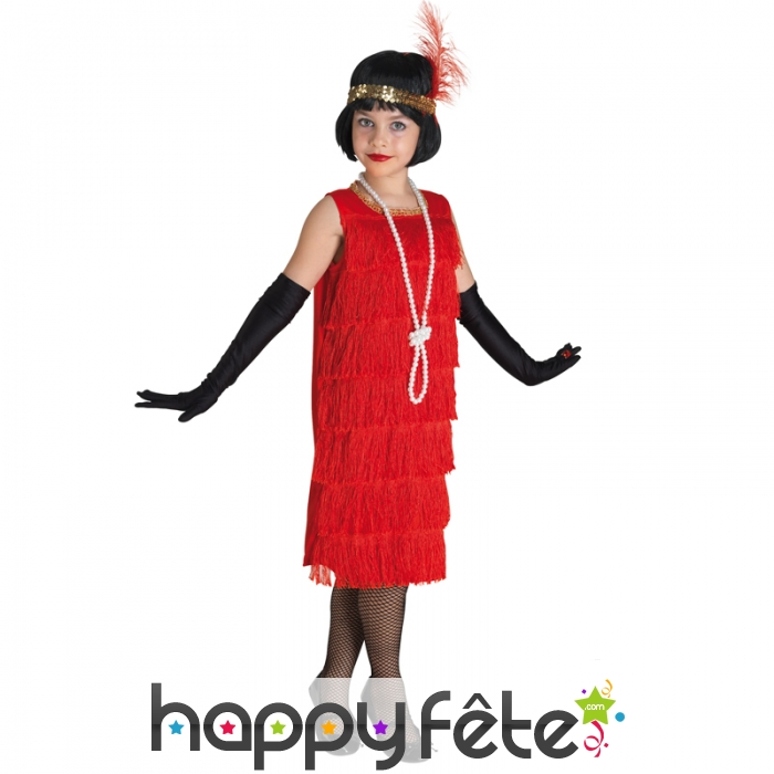 Robe Charleston Rouge A Franges Pour Enfant