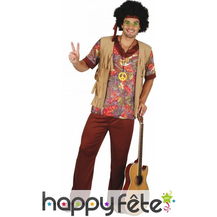 Tenue de hippie manches courtes pour homme - Tenue hippie homme ...