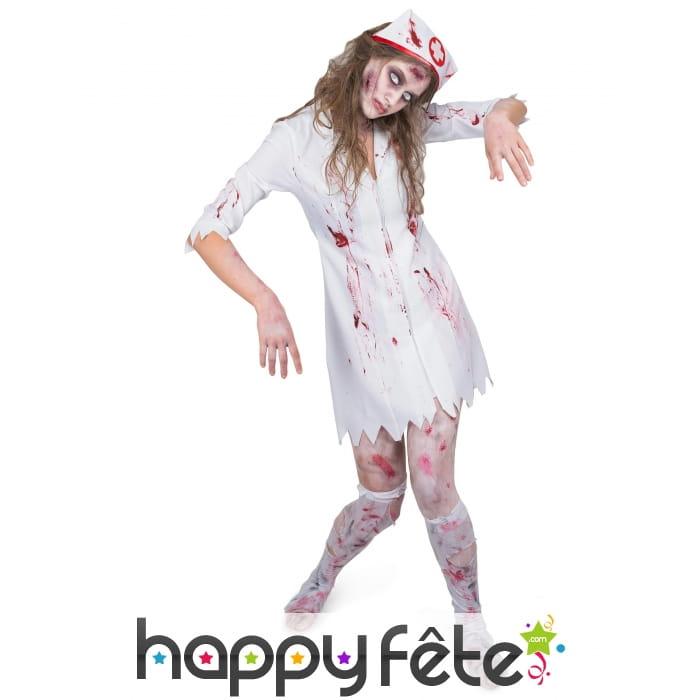 Assoiffé de Sang Zombie Infirmière robe tablier coiffe Femmes Halloween Fancy Dress