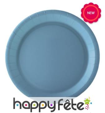10 Assiettes rondes bleues en carton, 22cm