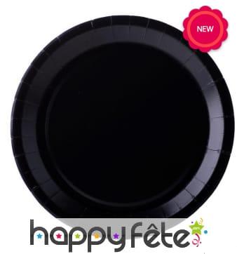 10 Assiettes rondes noires de 22cm, en carton