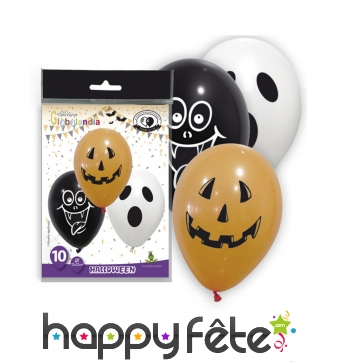 10 Ballons avec visages d'halloween, 28 cm