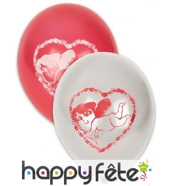 10 Ballons Cupidon rouges et blancs