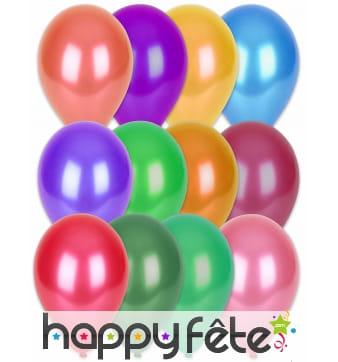 100 ballons coloris métalliques, 29cm