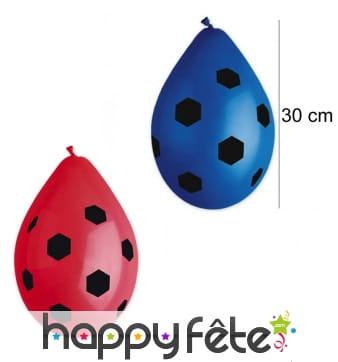 10 ballons de baudruche motifs foot, 30 cm