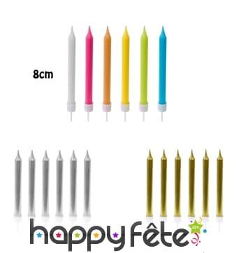 10 Bougies d'anniversaire de 8cm