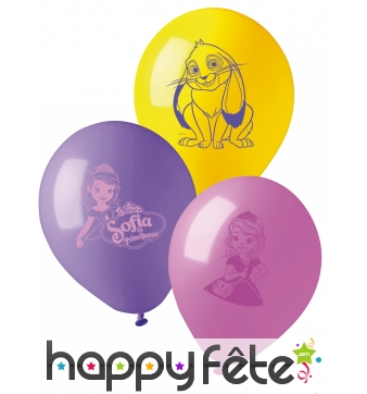 10 Ballons imprimé Princesse Sofia, 28cm