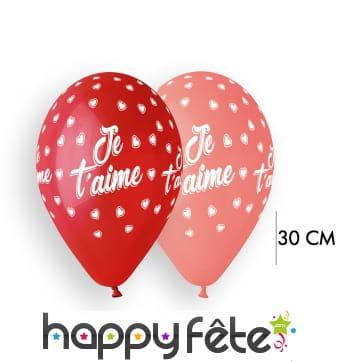 10 Ballons imprimés je t'aime, 30cm