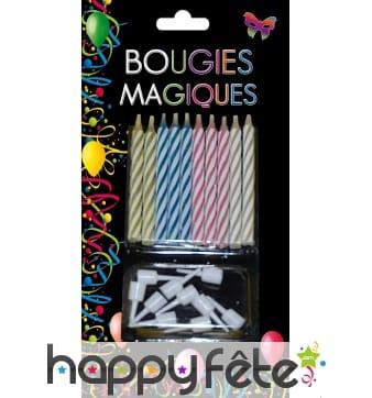 10 Bougies magiques avec bobeches