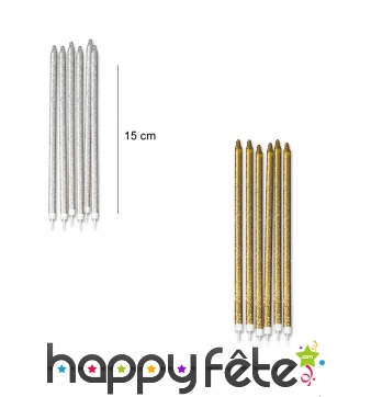12 bougies pailletées de 15 cm