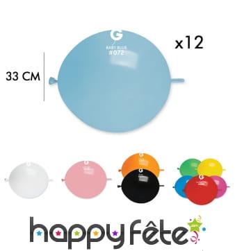 12 Ballons ronds avec lien, 33cm