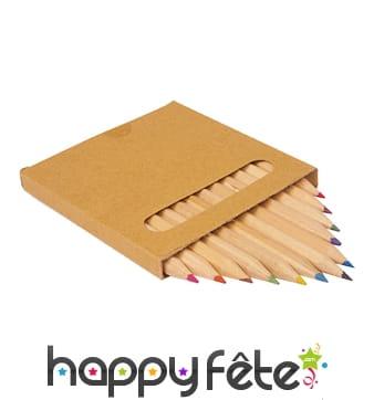 12 crayons de coloriage en bois, carré