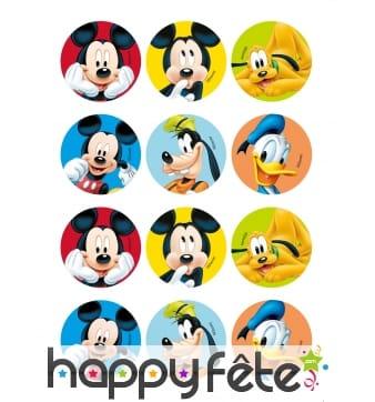 12 Décos pour biscuit Mickey friends, 6 cm, amidon