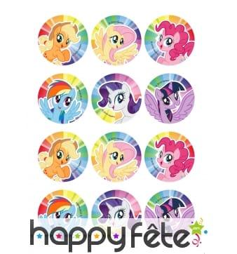 12 Décos pour biscuits My Little Pony, 6 cm, sucre