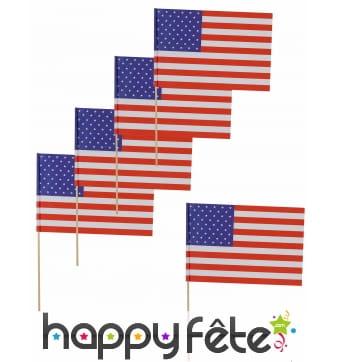 12 drapeaux USA sur pic, 11x7,5 cm