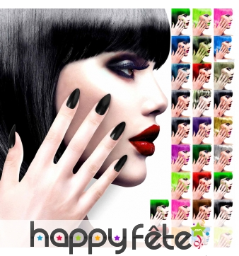 12 Faux ongles longs pointus adhesifs femme