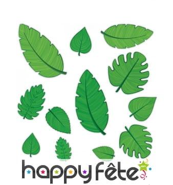 12 feuilles vertes pour décor de table, en carton