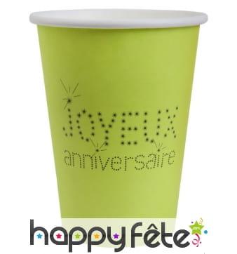 10 Gobelets verts Joyeux anniversaire