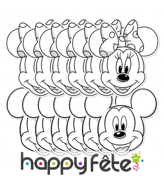 12 masques de Mickey et Minnie à colorier