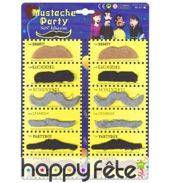 12 moustaches multi formes et couleurs