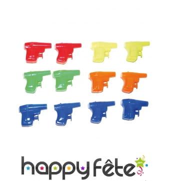 12 Mini révolvers à eau multicolores de 6cm