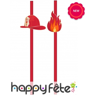 10 Pailles décorées d'un casque de pompier
