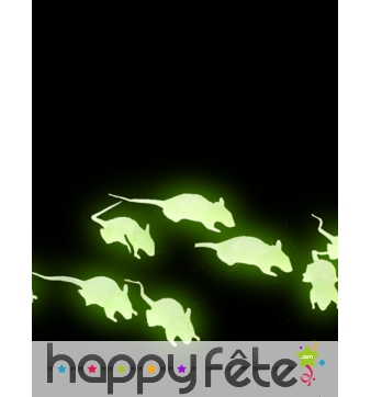 12 petits Rats phosphorescents de 4cm