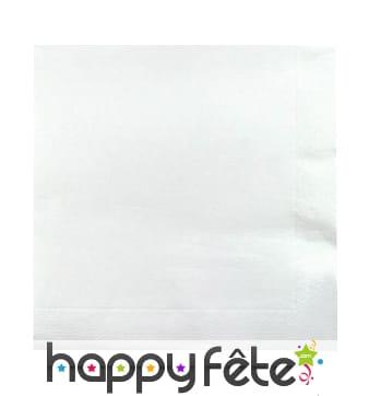 100 serviettes blanches de 20X20cm