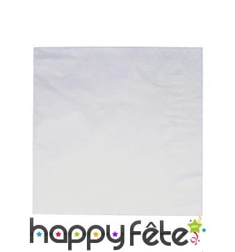 100 serviettes blanches de 30cm, papier 2plis