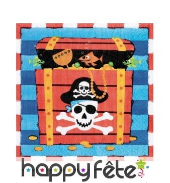 16 Serviettes coffre de Pirate, en papier
