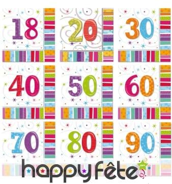 16 serviettes d'anniversaire imprimées âge