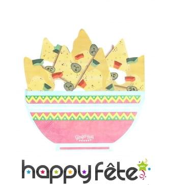 16 Serviettes en forme de bol à nachos
