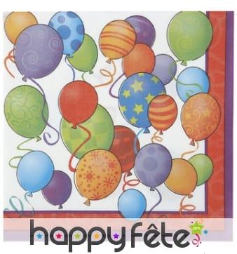 16 serviettes en papier décorées de ballons