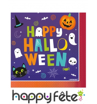 16 Serviettes Happy Halloween, pour enfant