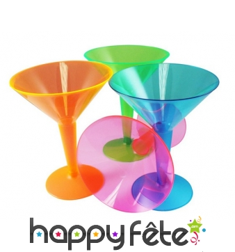 12 Verres cocktail multicolores en plastique