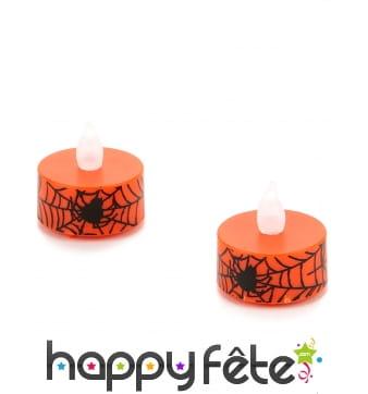 2 bougies araignée chauffe plat avec LED